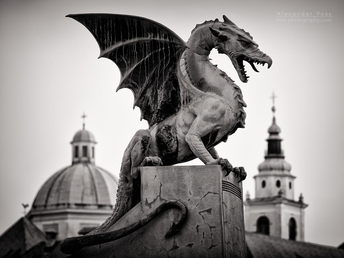 Black and White Photography: Ljubljana – Dragon Bridge